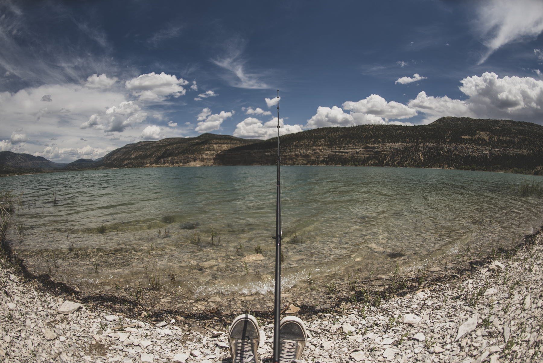 Fishing on the shore of Joes Valley